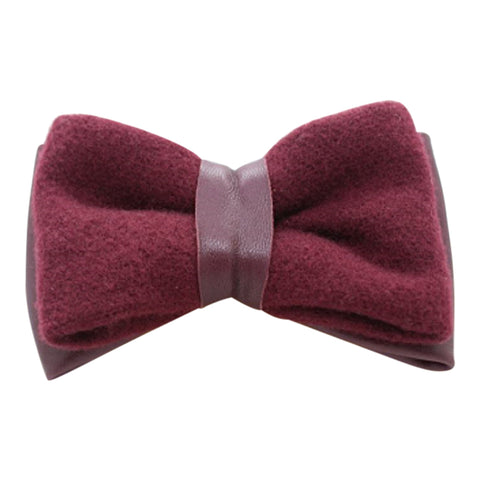 Burgundy Wool and Leather Bow Tie