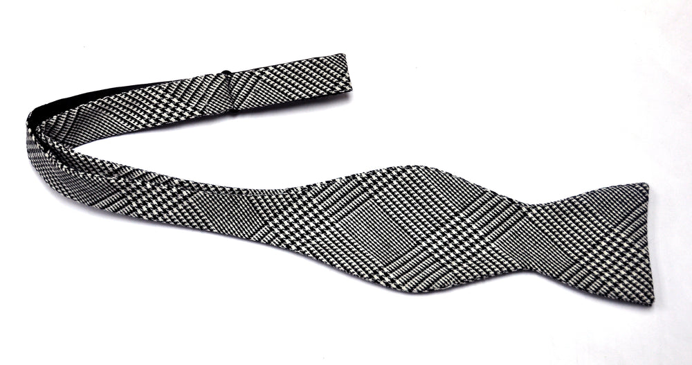 Black and White Glen Plaid Mask and Bow Tie Set - SONSON