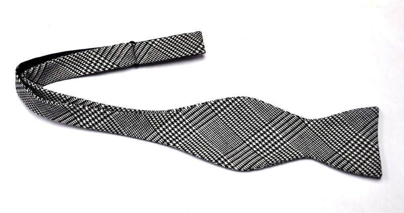 Black and White Glen Plaid Mask and Bow Tie Set - SONSON®