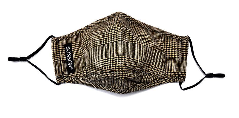 Black and Brown Glen Plaid Mask and Bow Tie Set - SONSON®
