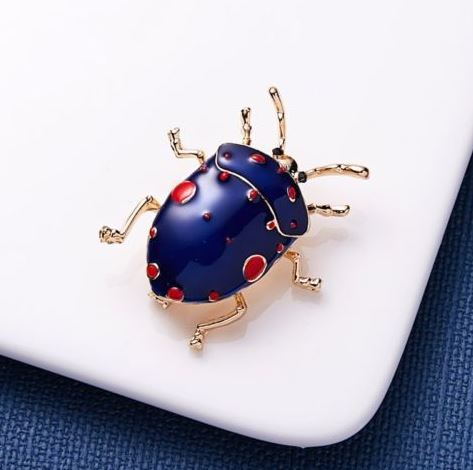 Blue and Red Dot Beetle Lapel Pin - SONSON®