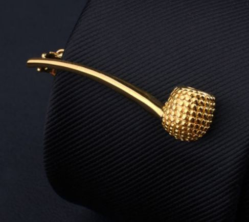 Faux Gold Smoking Pipe Tie Clip - SONSON