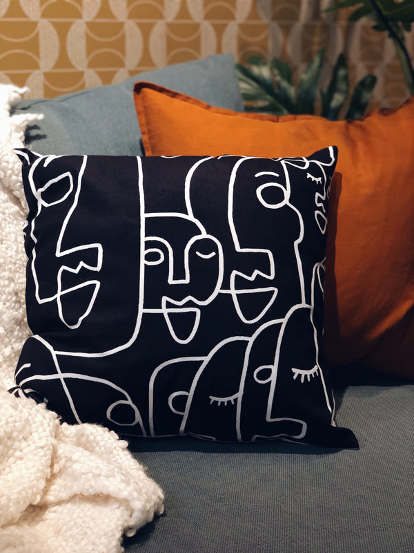 Black and White Velvet Abstract Face Pillow - SONSON®