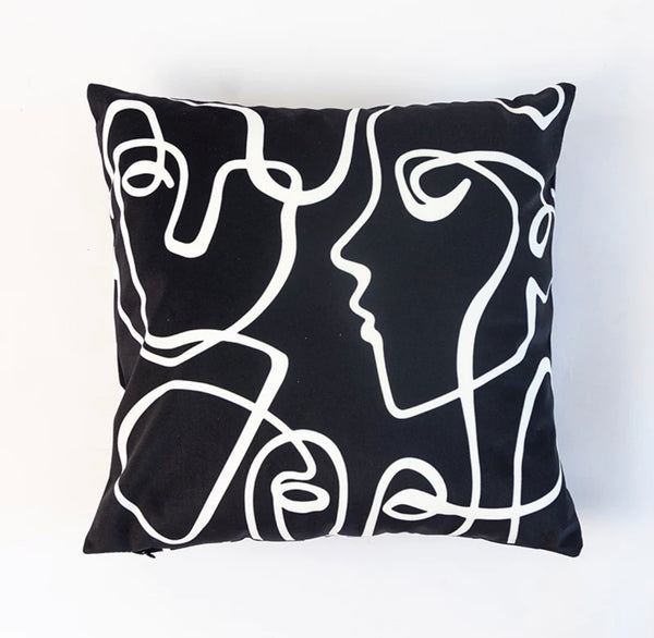 Black and White Velvet Silhouette Face Pillow - SONSON®