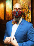 Dapper Non Surgical Red and Blue Ankara Fashion Mask and Bow Tie Set - SONSON®