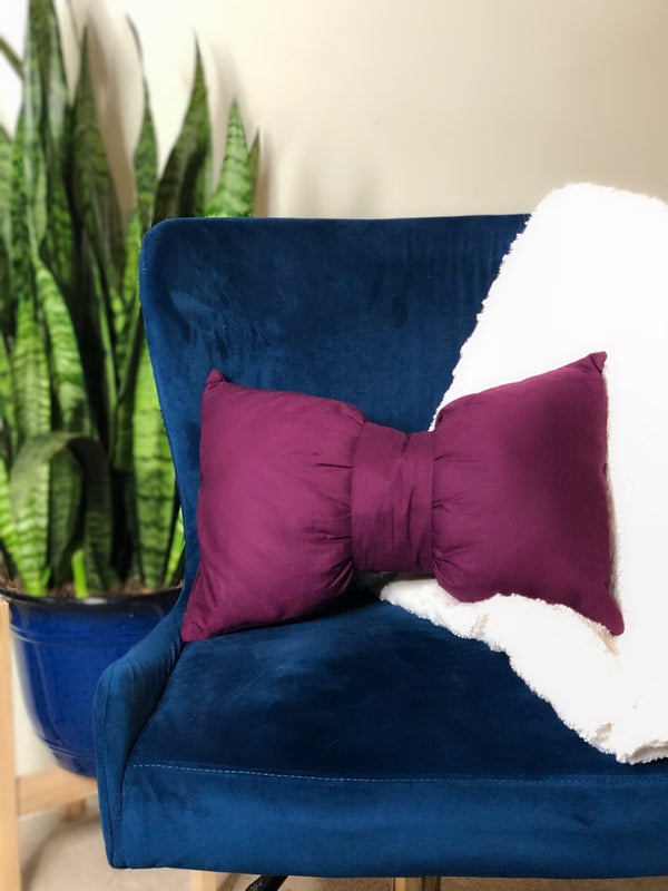 Set of 2 Magenta Lumbar Bow Tie Pillow - SONSON®