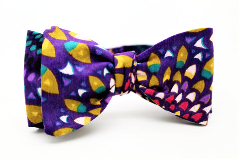 Purple Rain African Waxed Print Bow Tie