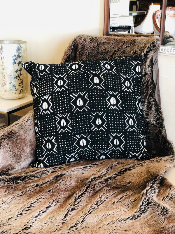 Authentic African Cowrie Print Mudcloth Pillow Cover - SONSON®