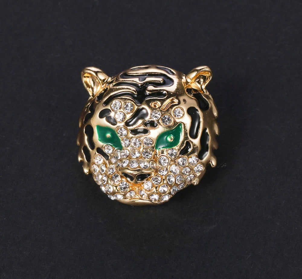 Gold Plated Green Eye Tiger Lapel Pin - SONSON