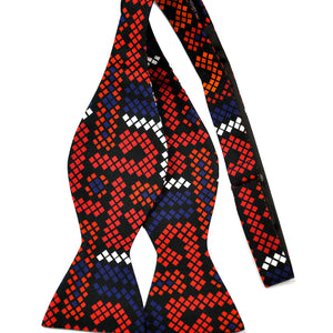 Red and Blue African Print Bow Tie