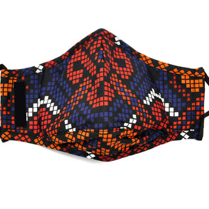 Red and Blue African Print Fashion Face Cover with Adjustable Nose Bridge