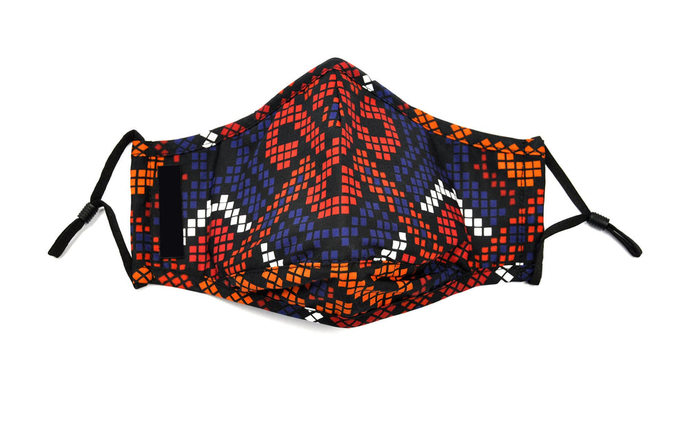 Red and Blue African Print Fashion Face Cover with Adjustable Nose Bridge - SONSON
