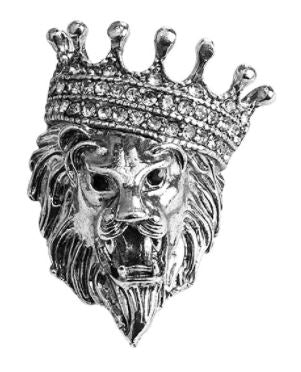 Silver Royal Lion Crown Pin - SONSON
