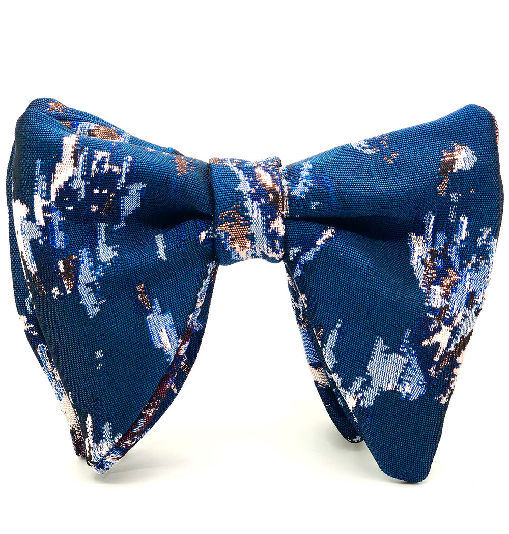 Blue Metallic Brocade Bow Tie Set - SONSON