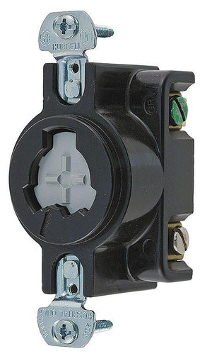 Hubbell HBL23000HG Black Locking Receptacle, 20 Amps, 125VAC Voltage Hardware > Power & Electrical Supplies Hubbell