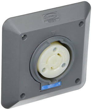 Hubbell HBL2320SR2 Locking Receptacle 2 Gang Surface Mount L6-20R Gray Hardware > Power & Electrical Supplies Hubbell