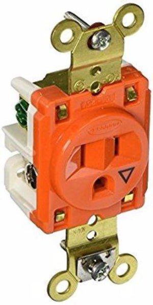 Hubbell IG5261 Heavy Duty Straight Blade 125V 15A 2-Pole 3-Wire Orange w Cover Hardware > Power & Electrical Supplies Hubbell