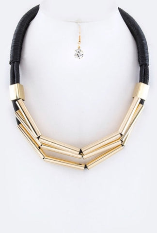 Karizma Black and Gold Wired Necklace Set