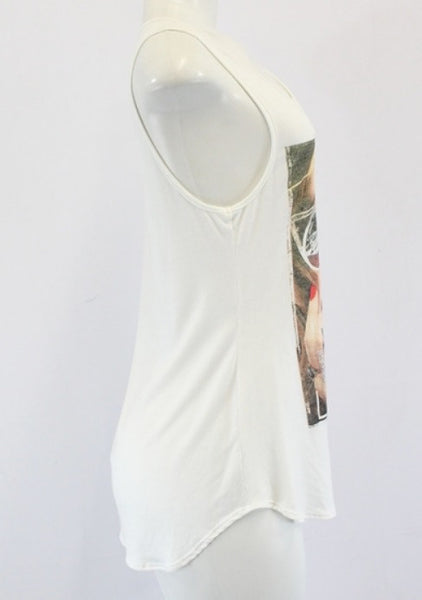 Love Paris White Tank Top