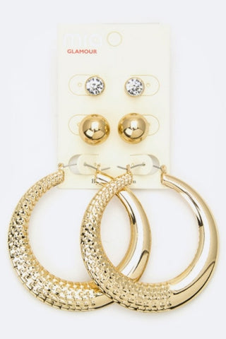 Golden Trio 3 Piece Earring Set