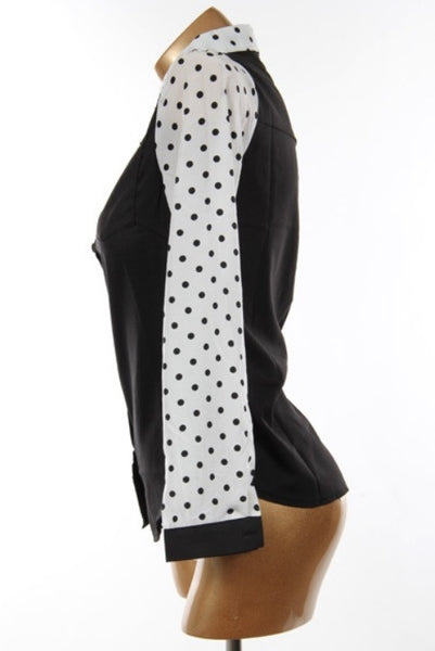 Classic Black, Polka Dot Sleeve Button Up