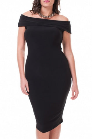 Smphony Black Knee High Body Con Dress