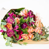 Mix of peach, pink, purple tones with beautiful earthy greenery. Beautiful fresh flowers, quality gifts. Free delivery within Auckland and North Shore. Birthday, anniversary, congratulations, new baby, sympathy.