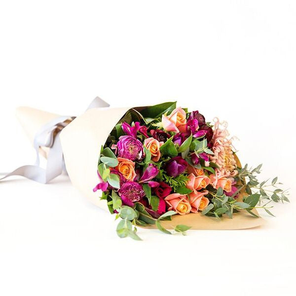 Mix of peach, pink, purple tones with beautiful earthy greenery. Beautiful fresh flowers, quality gifts. Free delivery within Auckland and North Shore. Birthday, anniversary, congratulations, new baby, sympathy, get well, new job, thank you, so sorry. Free Delivery. North Shore Florist. Flowers. Market Flowers Daily for Bouquets. Posey. Bouquet. Floral Arrangements.