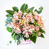 Blush pink flowers, delivered in a posy bag, Beautiful fresh flowers, quality goods and gifts. Free delivery within Auckland and North Shore. Birthday, anniversary, congratulations, new baby, hospital, sympathy, corporate, client gifts, love.