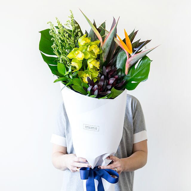 This unique mix of structural foliage and flowers, birds of paradise, orchids, greenery, Beautiful fresh flowers, quality goods and gifts. Free delivery within Auckland and North Shore. Birthday, anniversary, congratulations, new baby, hospital, sympathy, corporate, client gifts, love.