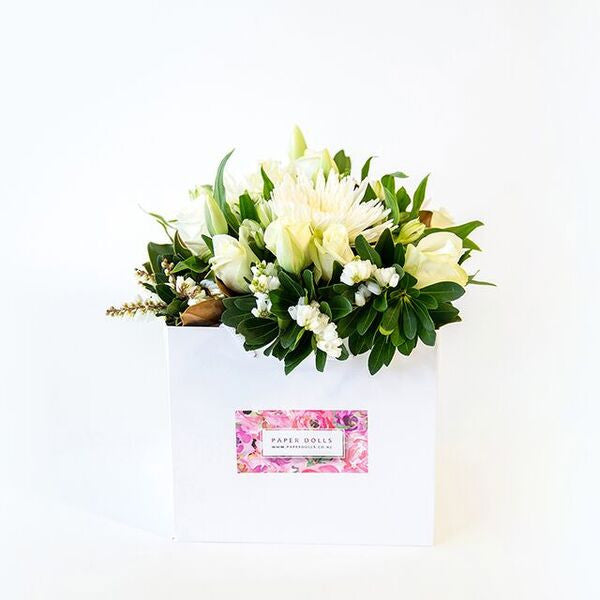 Classic white and green flowers, delivered in a posy bag, Beautiful fresh flowers, quality goods and gifts. Free delivery within Auckland and North Shore. Birthday, anniversary, congratulations, new baby, hospital, sympathy, corporate, client gifts, love.