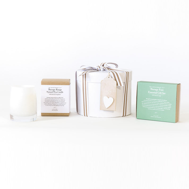 Womans Gift box includes the aromatherapy company natural wax candle and essential Foot therapy gift set. Free delivery auckland and north shore. North Shore florist and gifts. For Her, anniversary, mothers day, birthday gift, i love you, thank you, corporate gifts. Online store, gift boxes, gift hampers, gift baskets, bouquets, posies, flowers.