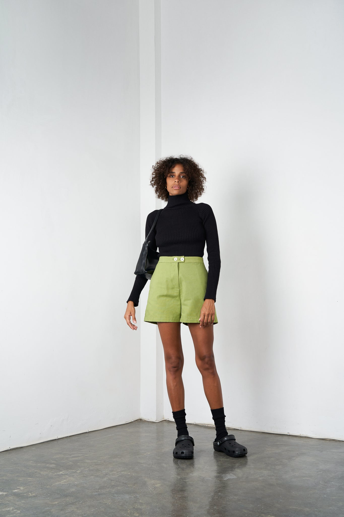 Arthur Apparel AW20 Womenswear Australian Fashion High Waist Cotton Shorts Green