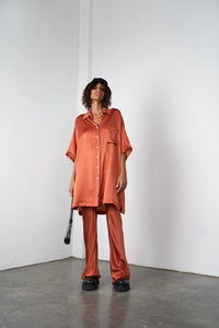 Arthur Apparel AW20 Womenswear Australian Fashion Oversized Silk Shirt Red Orange Heart Print