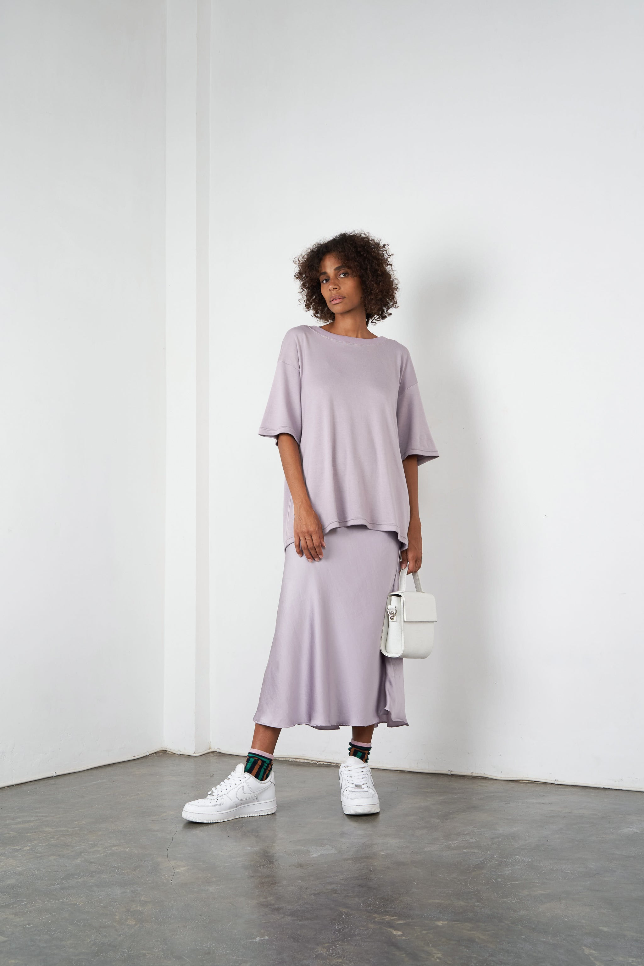 Arthur Apparel AW20 Womenswear Australian Fashion Cotton Oversized Tshirt Pastel Purple Lilac