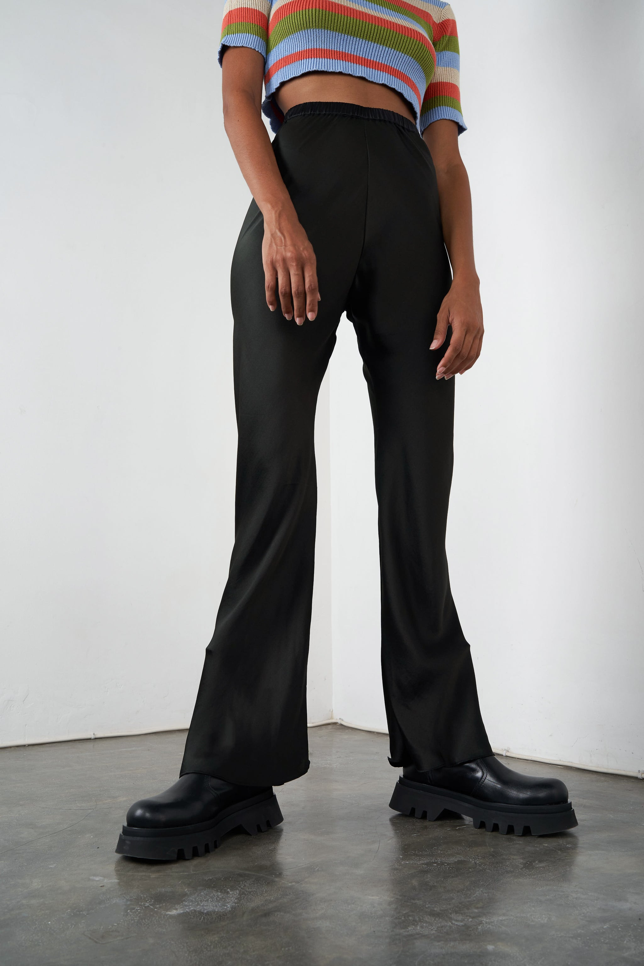 Arthur Apparel AW20 Womenswear Australian Fashion Silk Flared Trouser Black