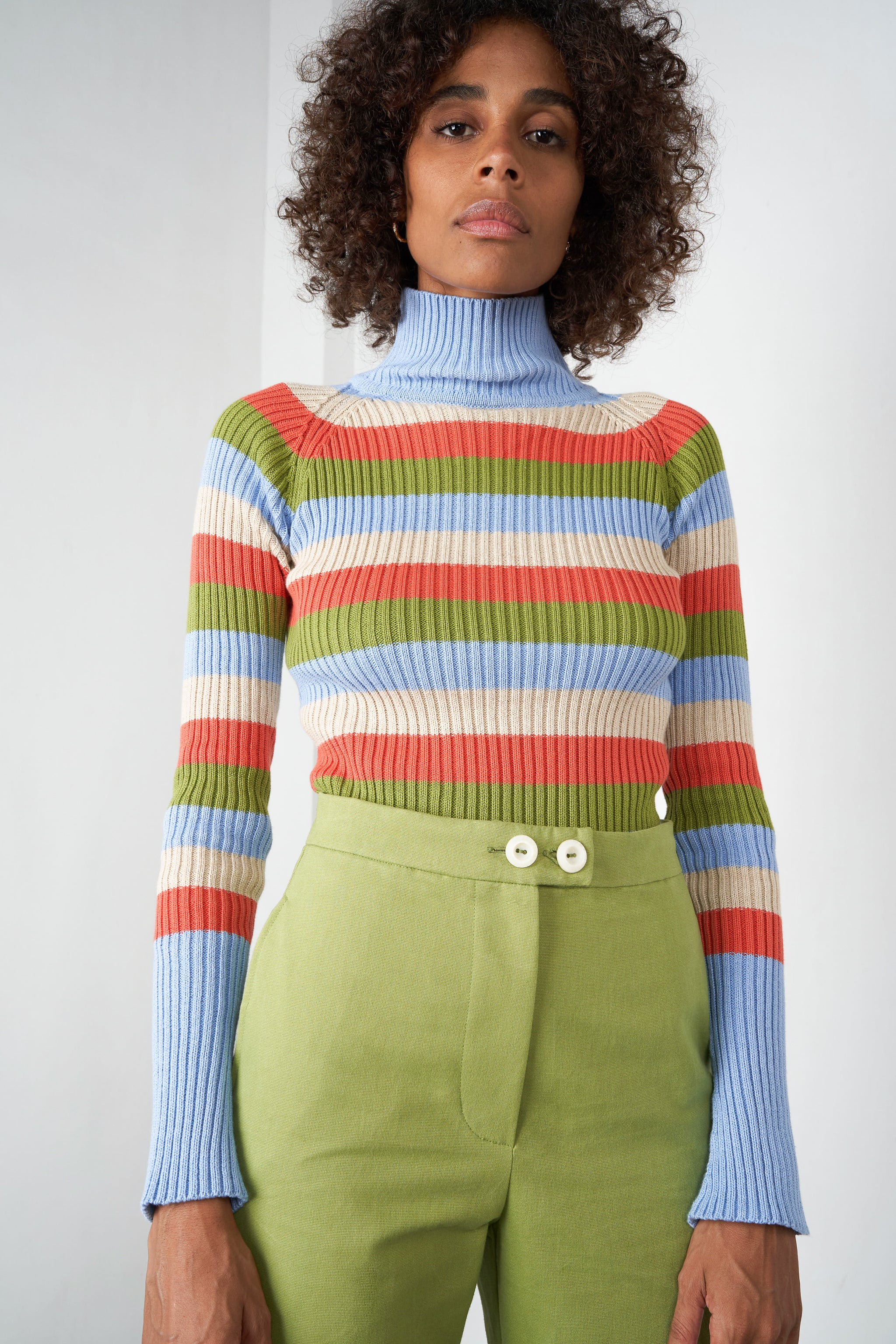 Arthur Apparel AW20 Womenswear Australian Fashion Ribbed Turtleneck Top Stripy Multicoloured