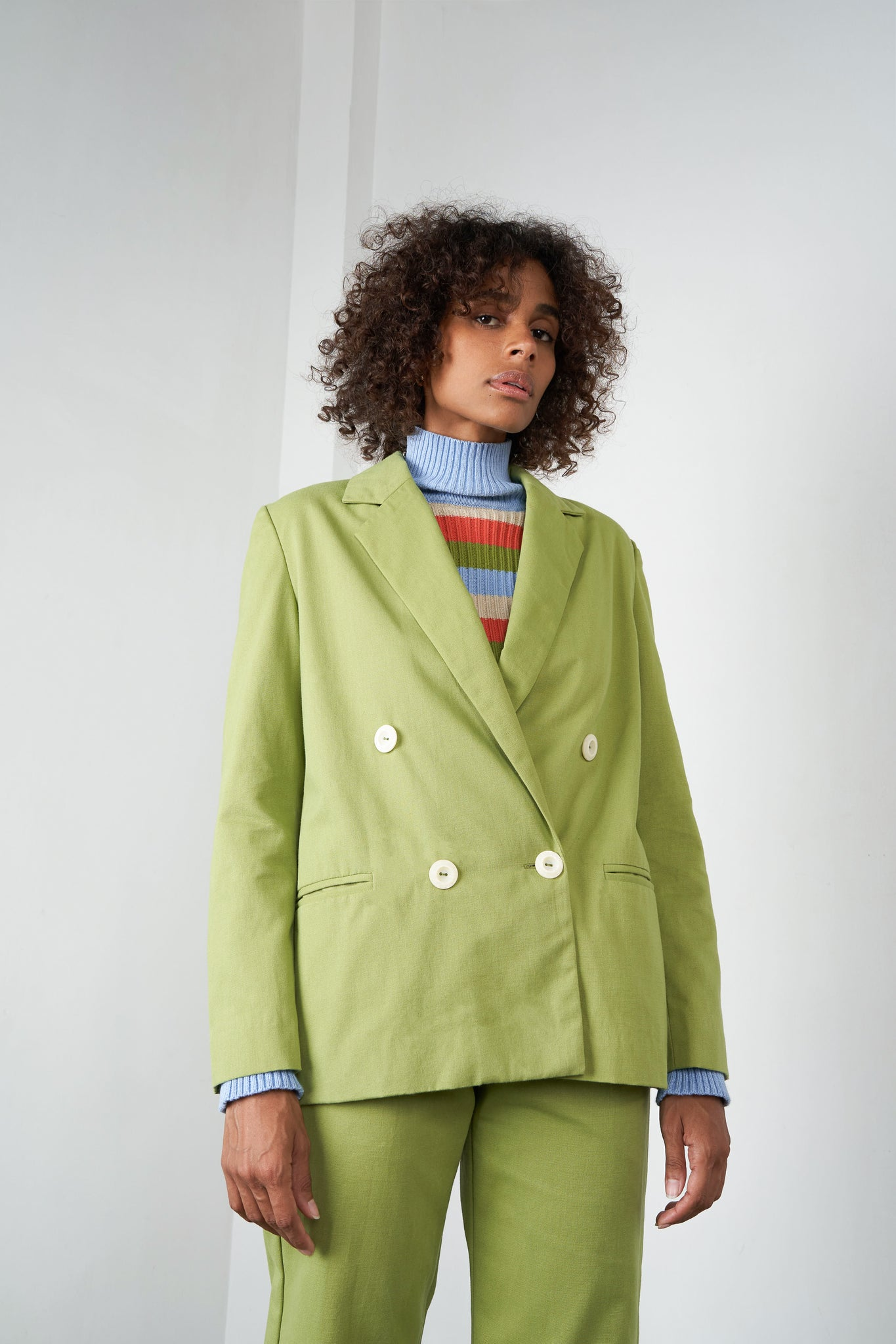 Arthur Apparel AW20 Womenswear Australian Fashion Oversized Cotton Blazer Jacket Green
