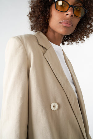 Arthur Apparel AW20 Womenswear Australian Fashion Oversized Cotton Blazer Jacket Beige Natural