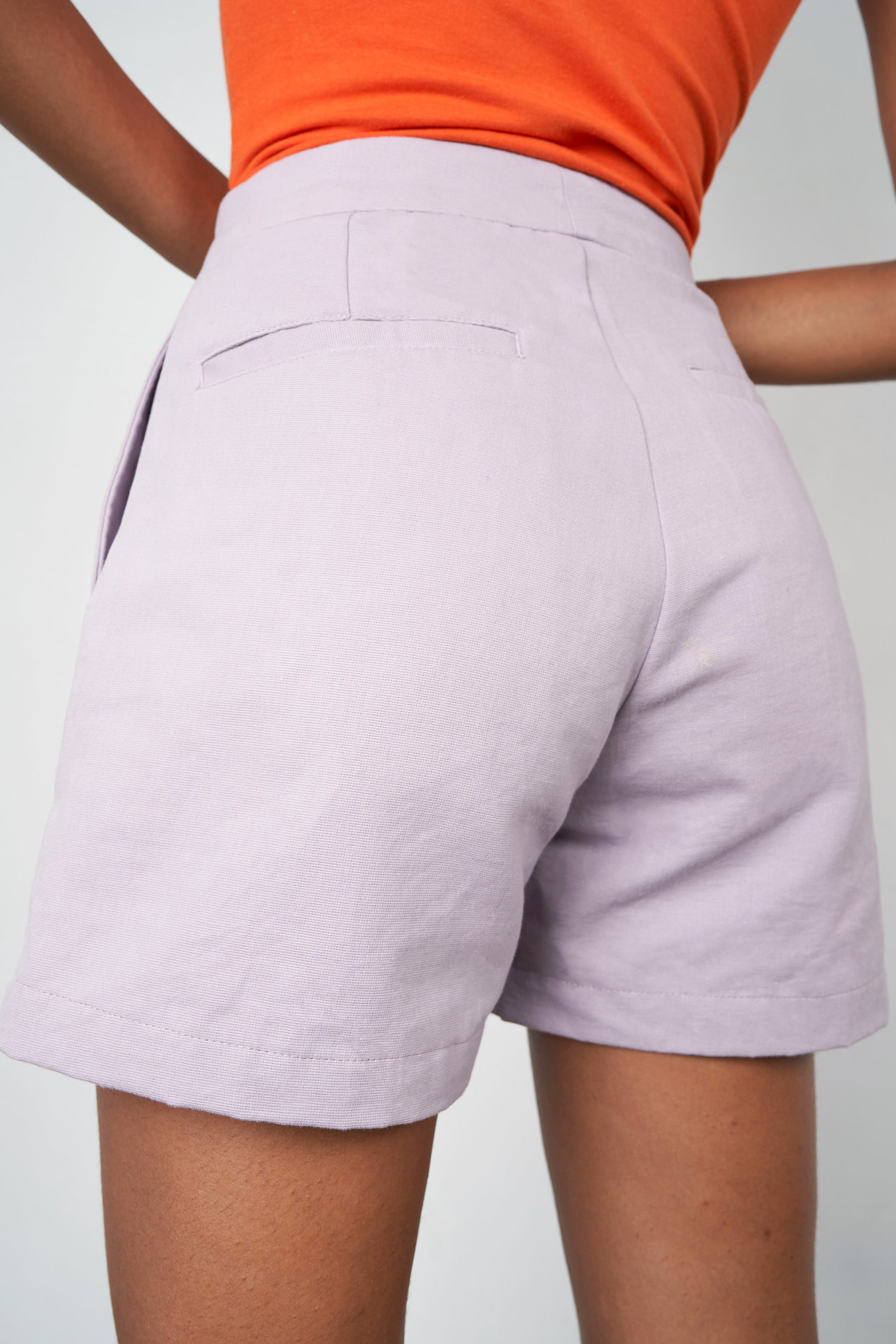 Arthur Apparel AW20 Womenswear Australian Fashion High Waist Cotton Shorts Pastel Purple Lilac