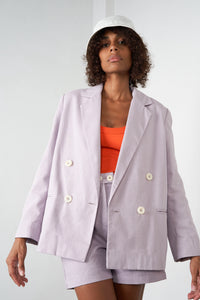 Arthur Apparel AW20 Womenswear Australian Fashion Oversized Cotton Blazer Jacket Pastel Purple Lilac