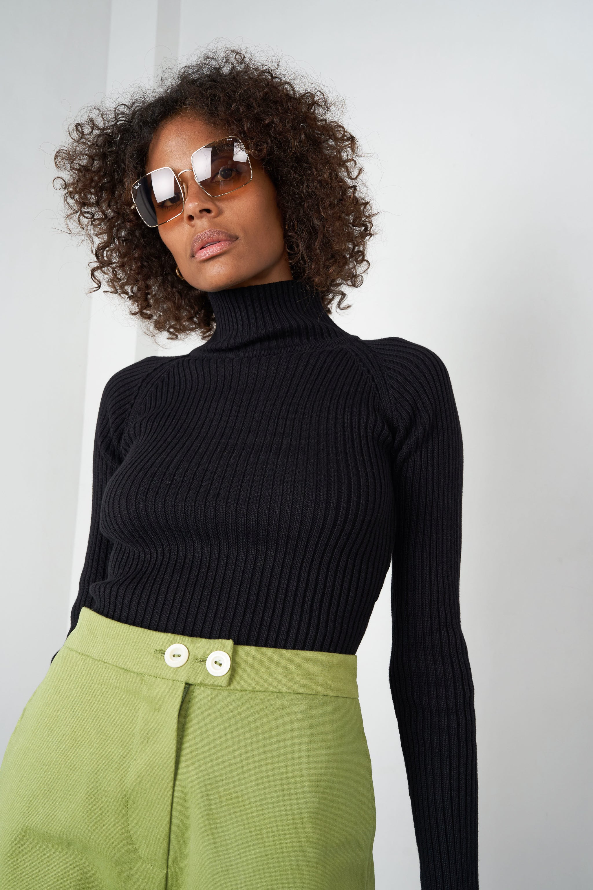 Arthur Apparel AW20 Womenswear Australian Fashion Ribbed Turtleneck Top Black