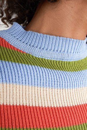 Arthur Apparel AW20 Womenswear Australian Fashion Knitted Ribbed Crop T-shirt Stripy Multicolour