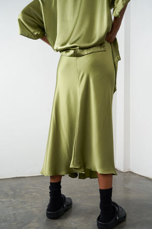 Arthur Apparel AW20 Womenswear Australian Fashion Silk Midi Skirt Olive Green