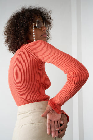 Arthur Apparel AW20 Womenswear Australian Fashion Ribbed Turtleneck Top Orange Red