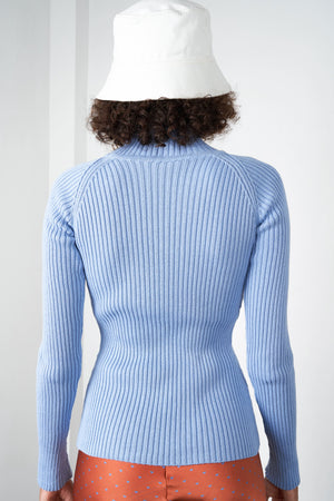 Arthur Apparel AW20 Womenswear Australian Fashion Ribbed Turtleneck Top Baby Blue