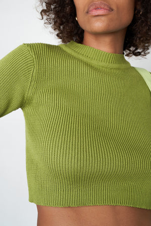 Arthur Apparel AW20 Womenswear Australian Fashion Knitted Ribbed Crop T-shirt Green