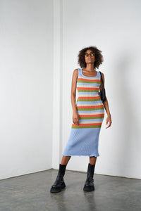 Arthur Apparel AW20 Womenswear Australian Fashion Knitted Stripy Midi Dress Blue Multicolour