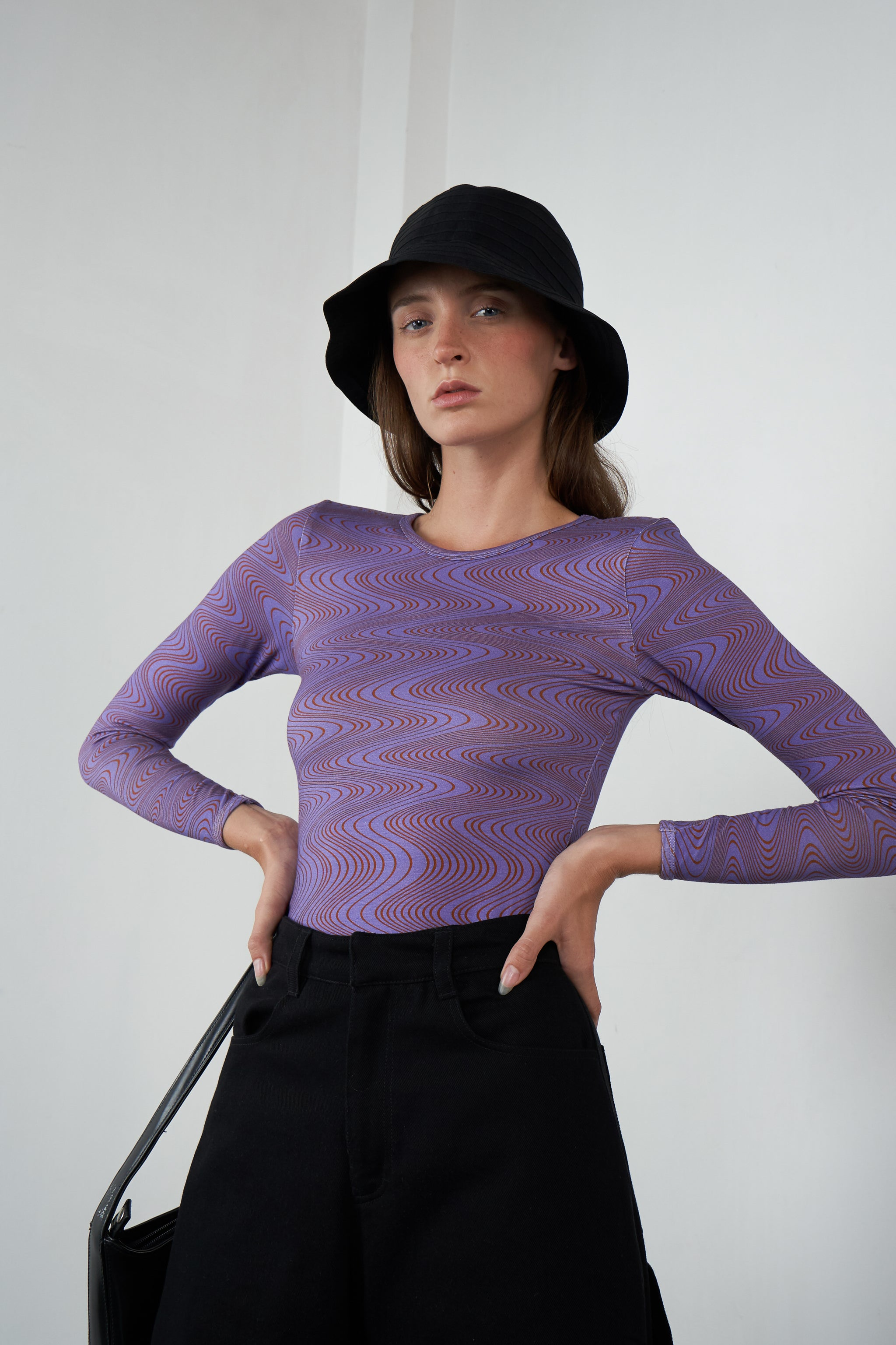 Long Sleeve Grip Top in Squiggle