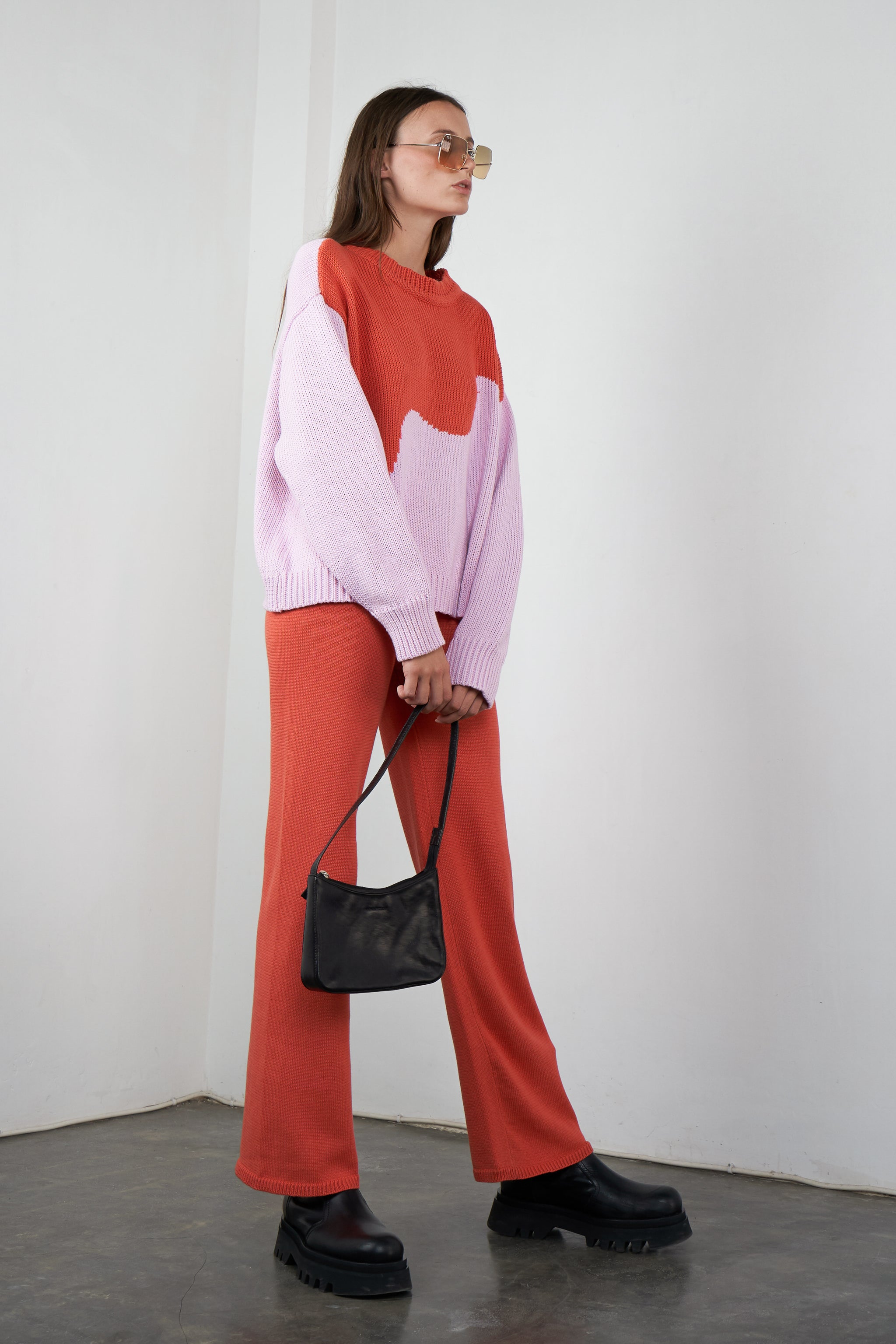 Relaxed Knitted Pants in Melon